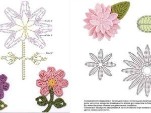 Простые цветочные мотивы крючком схемы для вязания. Ярмарка Мастеров - ручная работа, handmade.