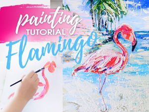 Video Tutorial: How to Draw a Flamingo?! Pink Flamingo in a Blue Lagoon. Livemaster - handmade