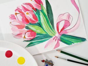 Рисуем открытку «Тюльпаны» на 8-е марта. Ярмарка Мастеров - ручная работа, handmade.