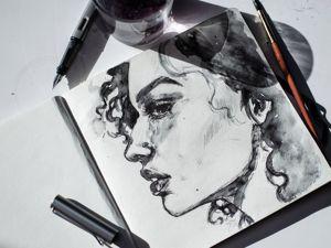 Портрет девушки тушью. Ярмарка Мастеров - ручная работа, handmade.