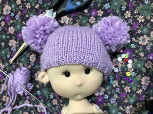 Шапочка для куклы Спицами. Ярмарка Мастеров - ручная работа, handmade.