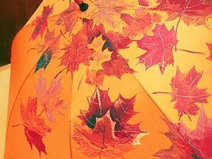 """Роспись зонта """"Осенние листья"""". Ярмарка Мастеров - ручная работа, handmade."""