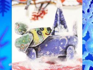 Украшаем новогодний сюрприз забавными собачками из картона. Ярмарка Мастеров - ручная работа, handmade.