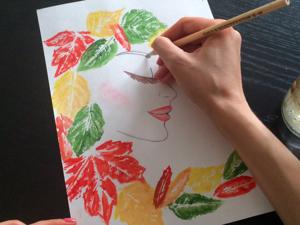 Осенний рисунок отпечатками листьев: видео мастер-класс. Ярмарка Мастеров - ручная работа, handmade.