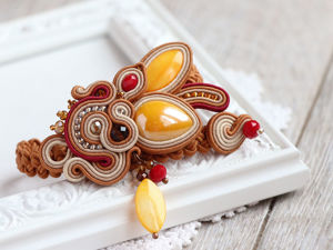 Шьем сутажный браслет «Медовый» на плетеном ремешке. Ярмарка Мастеров - ручная работа, handmade.