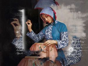 Embroiderer Image in Painting. Livemaster - handmade