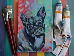 Painting the Symbol of the Year 2018: A French Bulldog in Oil. Livemaster - handmade