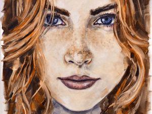 День 127. Этюд по фото  «Портрет рыжей девушки». Ярмарка Мастеров - ручная работа, handmade.