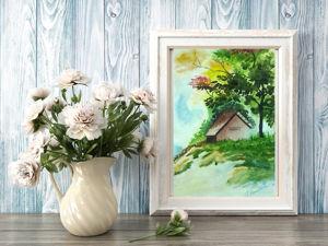 Картина акварелью  «Домик в лесу». Ярмарка Мастеров - ручная работа, handmade.