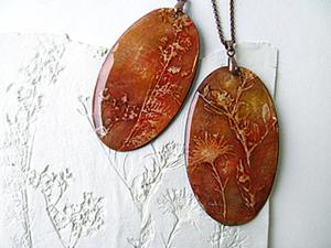 МК оттиски растений и создание украшений с ними. Ярмарка Мастеров - ручная работа, handmade.