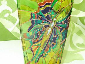 Расписываем стеклянную вазу. Ярмарка Мастеров - ручная работа, handmade.