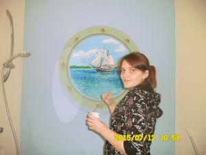 Роспись стен: «Парусник» в ванной комнате. Ярмарка Мастеров - ручная работа, handmade.