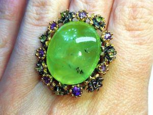 Скидка на кольцо  «Луговые Травы»  пренит, аметисты. Ярмарка Мастеров - ручная работа, handmade.