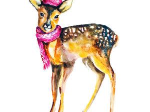 Рисуем акварелью оленёнка: видео мастер-класс. Ярмарка Мастеров - ручная работа, handmade.
