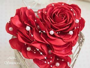 Мастер-класс 2 в 1. Роза и валентинка из фоамирана.. Ярмарка Мастеров - ручная работа, handmade.