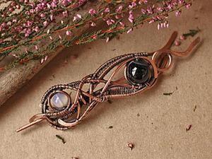 Брошь-фибула в технике wire wrap: создаем оригинальное медное украшение для вязаных вещей. Ярмарка Мастеров - ручная работа, handmade.
