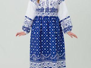 Платье Льняное Певчее в Синем. Ярмарка Мастеров - ручная работа, handmade.