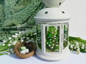 Создаём витражный фонарик с весенними ландышами. Ярмарка Мастеров - ручная работа, handmade.