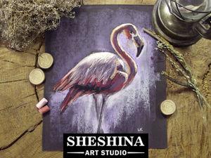 Видеоурок: рисуем фламинго сухой пастелью. Ярмарка Мастеров - ручная работа, handmade.