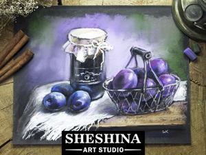Рисуем натюрморт со сливами сухой пастелью. Ярмарка Мастеров - ручная работа, handmade.