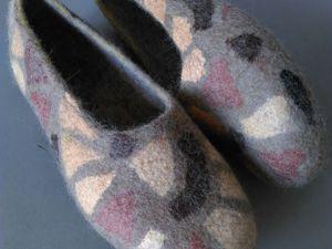 Тапочки валяные с вискозной бумагой «Сафари» обратная раскладка. Ярмарка Мастеров - ручная работа, handmade.