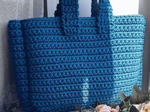 МК по вязанию сумки из трикотажной пряжи крючком. Ярмарка Мастеров - ручная работа, handmade.