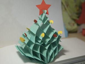 """Делаем объемную новогоднюю открытку """"Елочка"""". Ярмарка Мастеров - ручная работа, handmade."""