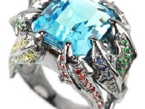 Скидка на кольцо с натуральным голубым топазом!!!. Ярмарка Мастеров - ручная работа, handmade.