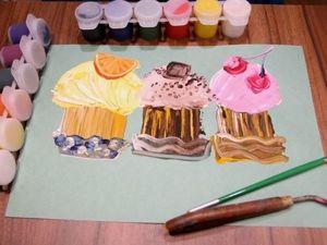 Аппетитные кексы мастихином? Легко! Рисуем с детьми. Ярмарка Мастеров - ручная работа, handmade.