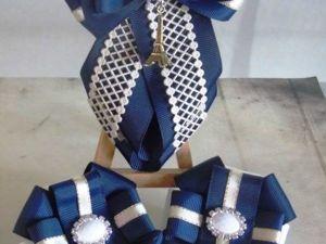 Создаем школьный набор канзаши: резинки для волос и галстук. Видеоурок. Ярмарка Мастеров - ручная работа, handmade.