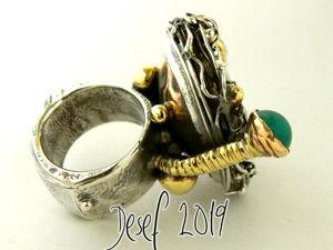 Кольцо  «Сатурн»  с агатом и апатитом. Ярмарка Мастеров - ручная работа, handmade.