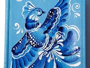 """Роспись ежедневника """"Зимняя птичка"""". Ярмарка Мастеров - ручная работа, handmade."""