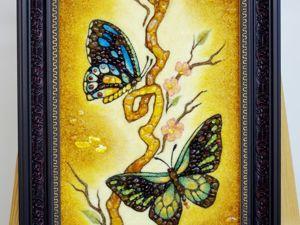 Янтарная картина  «Бабочки». Ярмарка Мастеров - ручная работа, handmade.