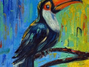 Пишем маслом картину «Тукан. Экзотическая птичка»: видеоурок. Ярмарка Мастеров - ручная работа, handmade.