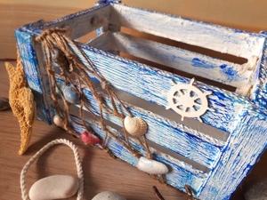 Создаем ящик из картона в морском стиле с нуля!. Ярмарка Мастеров - ручная работа, handmade.