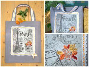 Шьем сумку-авоську с текстильным принтом «Осень в Париже». Ярмарка Мастеров - ручная работа, handmade.