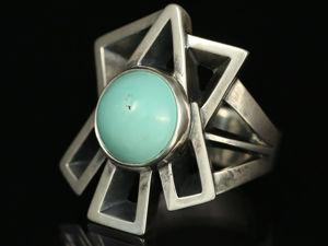 Кольцо с натуральной бирюзой. Кольцо геометрия с бирюзой. Ярмарка Мастеров - ручная работа, handmade.