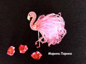 Создаем брошь  «Розовый фламинго»  из бисера и перьев. Ярмарка Мастеров - ручная работа, handmade.