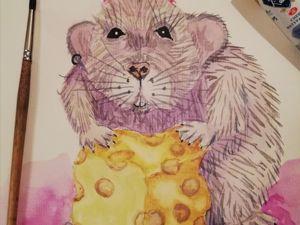 Рисуем мышь акварелью. Ярмарка Мастеров - ручная работа, handmade.