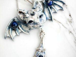 Дьявольский кот. Кулон с камнем лазурит и кианит. Ярмарка Мастеров - ручная работа, handmade.
