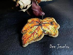 """Вышивка бисером по канве для начинающих: брошь """"Осень, осень..."""". Ярмарка Мастеров - ручная работа, handmade."""