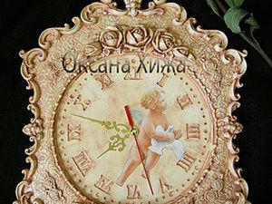 """Часы """"Время ангелов"""". Мастер-класс по имитации камня на рельефной поверхности. Ярмарка Мастеров - ручная работа, handmade."""