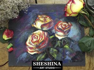 Видеоурок: рисуем букет желто-красных роз сухой пастелью. Ярмарка Мастеров - ручная работа, handmade.