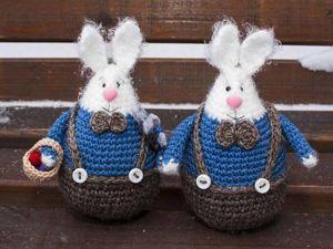 Вяжем пасхального кролика крючком. Ярмарка Мастеров - ручная работа, handmade.