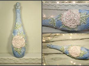 Делаем винтажную бутылку с объёмной розой. Ярмарка Мастеров - ручная работа, handmade.