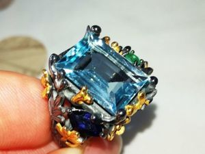Видео Кольцо  «Леди Ди»  с голубым топазом. Ярмарка Мастеров - ручная работа, handmade.