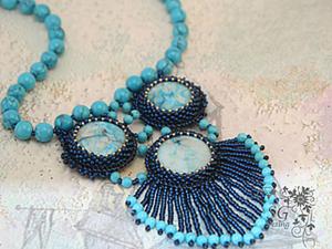 """Мастер-класс по вышивке кулона """"Голубые острова"""". Ярмарка Мастеров - ручная работа, handmade."""