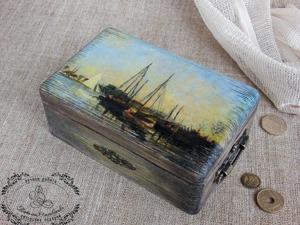"""Декорируем шкатулку """"Моне. Прогулочные лодки"""". Ярмарка Мастеров - ручная работа, handmade."""