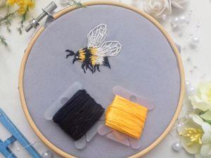 Вышиваем шмеля: видео мастер-класс. Ярмарка Мастеров - ручная работа, handmade.