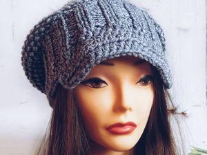 Вяжем шапку-кепи с козырьком. Ярмарка Мастеров - ручная работа, handmade.